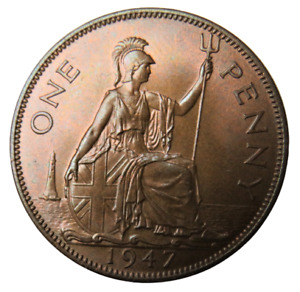 1947 King George VI One Penny Coin - Great Britain - Unc