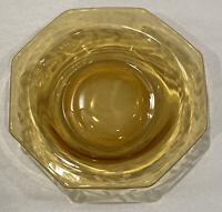 """Vintage Small Amber Glass Bowl Etched Leaf Design Dessert Trinket Dish 6""""x1"""""""