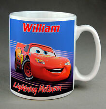 LIGHTNING McQUEEN  MUG - DISNEY CARS - PRINTED WITH YOUR CHOICE OF NAME - NEW
