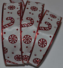 Wired Ribbon~Christmas Candy Cane~Red Sparkle~Holiday Peppermint~Wreath~Gift~Bow