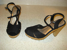 HOT KISS MADELYN Womens BLACK Dress T-STRAP Shoes HEELS Size 6.5 M  NEW