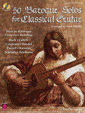 50 Baroque Solos For Classical Guitar Mark Phillips Tab Book Cd NEW!