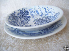 Vintage Enoch Wedgwood Countryside Berry Dessert Bowl & Plate Blue on White