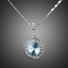 PLATINUM BLUE CRYSTAL NECKLACE AND CHAIN #N06