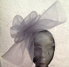 grey fascinator millinery burlesque wedding hat hair piece ascot race bridal