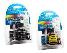 Refillable Cartridges Ink Black, Cyan, Magenta, Yellow, Syringe, Needle, Gloves