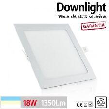 Downlight placa de LED CUADRADO 18W 90 LED techo cocina baño luz BLANCO CALIDO