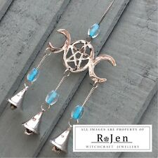Triple Moon Pentagram Goddess Blue Bead Garden Wind Chime Wicca Pagan Witch