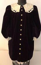 4969a2b529 Peaches N Cream Size 8 Holiday Dress Purple Velvet Ivory Lace Collar Cuffs  Hem