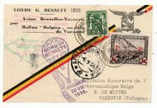 1936 BELGIUM TO POLAND BALLOON COVER, GORDON BENNETT, SUPERB CANCELS !