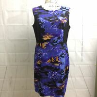 Cynthia Rowley Dress Black Purple Fitted Bodycon sleevless Career Size 12