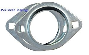 (Qty.2) PFL205 oval 2 bolt pressed steel bearing housing for 205 inserts