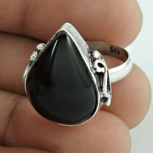 Pear Shape Onyx Gemstone Ring Size 6 925 Solid Sterling Silver Jewelry H69