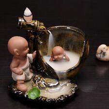 Ceramic Monk Bath Censer Smoke Backflow Cone Incense Burner & 10 CONES