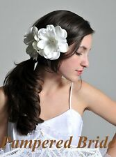 """Lot of 2 Ivory 4"""" hand crafted gardenia with rhinestone center flower hair clip"""