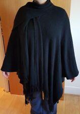 WOMEN'S / LADIES' BLACK SHAWL-COLLAR KNITTED CARDIGAN / PONCHO - UK SIZE 10-16