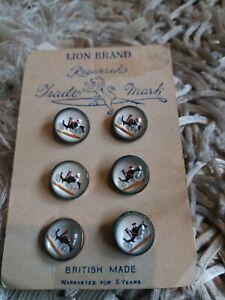 Vintage Lion Brand Reverse Painted Classic Car Pictorial Glass Vest Buttons x 6