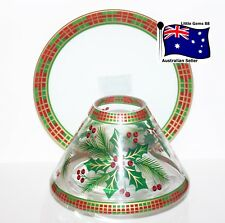 VILLAGE CANDLE ** Holly Plaid ** LARGE SHADE & PLATE For Large Jars