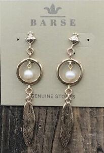 Barse Bansela Featherweight Earrings-Freshwater Pearl & Bronze-NWT