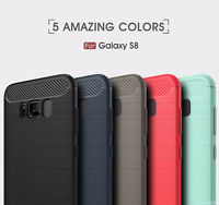 Carbon Fiber Texture Slim TPU back Cover Case For Samsung Galaxy S8 / S8 Plus DH