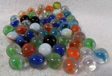 VINTAGE LOT OF 50--MANY COLORS--GLASS MARBLES-CAT EYES-PELTIER-ETC.--VERY NICE!