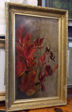 Fall Autumn Nature Red Gold Leaves OIL vintage 1973 ornate frame art painting