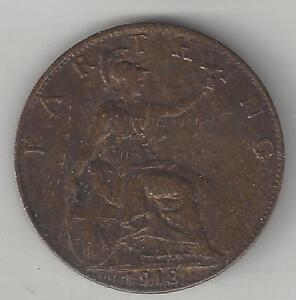 GREAT BRITAIN,  1918,  FARTHING,  KM#808.2,  BRONZE,  BRIGHT FINISH,  A.U.