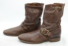 Vintage Boot Company Womens Sz 7.5 Riding Biker Slouch Leather Brown Short Boots