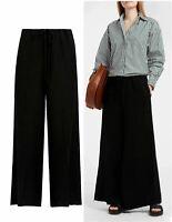 KHAITE Black Renata Frayed Canvas Wide Leg Pants 2 BRAND NEW