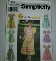 Dress Modest Easter Sewing Pattern Simplicity 7982 Childs 12 14 16 UC FF Girl