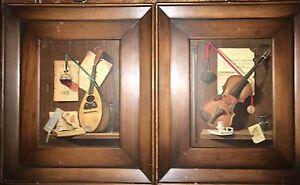 Pair Mid Century Prints Signed REDELIUS Wood Framed Mandolin Violin 11 X 13