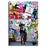 """Albert Einstein Banksy Wall Art """"Love Is The Answer"""", Large Colorful Graffiti St"""