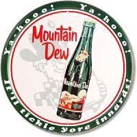 Mountain Dew Soda Pop Pepsi Brand Retro Vintage Wall Decor Round Metal Tin Sign