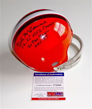 "MIKE MCCORMACK SIGNED ""NFL CHAMPS/PRO BOWL/HOF 84"" BROWNS MINI HELMET PSA U78669"