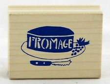 Fromage Wood Mounted Rubber Stamp Yellow Owl Workshop NEW party label cheese art