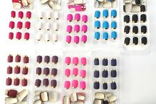 216 Pcs French False Nails Wholesale Golden Side Solid 9 Colors Artificial Nails