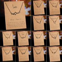 Women Crystal Constellations Pendant Necklace Silver Clavicle Choker Chain Gift