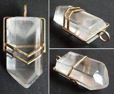 Pendentif OR massif + cristal de roche Vers 1960 gold rock cristal pendant jewel