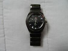 SWISS HUNTER WATCH QUARTZ BLACK MAN WATCH CRISTAL GLASS PHASE