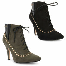 "Women's Faux Suede Lace Up Stiletto Very High Heel (greater than 4.5"") Boots"