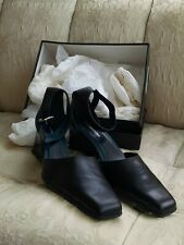 BCBGMaxazria black ankle strap shoes with patent leather heels, 9.5