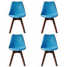 4 X (4X) (X4) BLUE Jamie Dining Chair WALNUT Designer SOFT PAD FAUX LEATHER