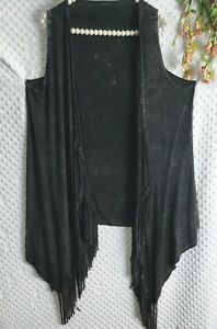 tp Anthropologie Vest Fringe Gray XL Womens Extra Large Soft Stretchy Boho Top