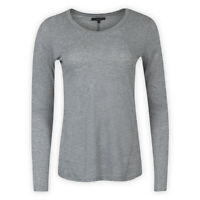 Womens Ladies Cotton-Blend Crew Neck Top Grey Long Sleeve Casual T-Shirt Blouse
