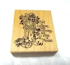 Rare PSX F-345 Christmas rubber stamp Not a Creature was Stirring saying words