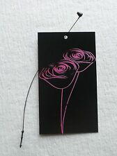 100 Fashion Tags .Boutique Tags Price Tags Two Roses On Black W/ Plastic Loops