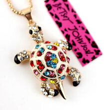Pendant Jewelry Betsey Johnson Golden Enamel Rhinestones Turtle Chain Necklaces