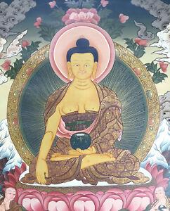 Sehr feines MASTERPIECE Thangka Shakyamuni Buddha aus NEPAL 72x53cm Erdfarben!