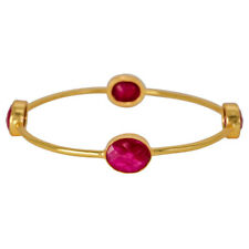 925 Solid Sterling Silver Gold Plated Ruby Dyed Bracelet