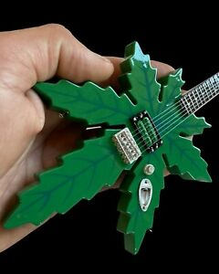 Tommy Chong's Sweet Leaf Pot Leaf Guitar 1:4 Scale Replica Mini Guitar